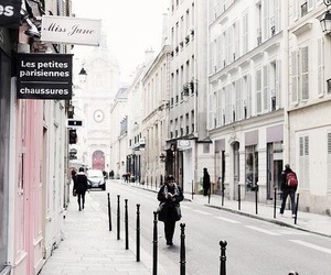 city, white, and street image