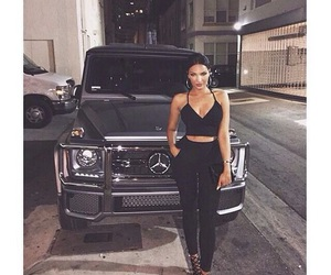 girl, mercedes, and black image