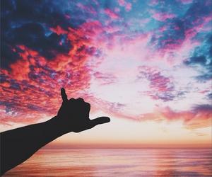 sky, sunset, and beach image