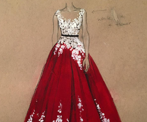 dress, red, and art image