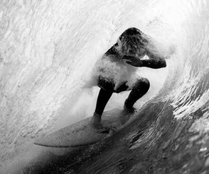 waves, surf, and black and white image