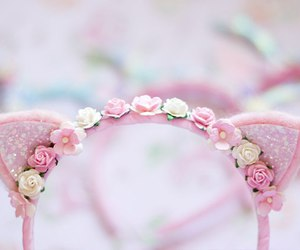 pink, accessories, and cat ears image