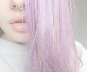 hair, piercing, and purple image