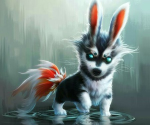 cute wolf pup dog art image