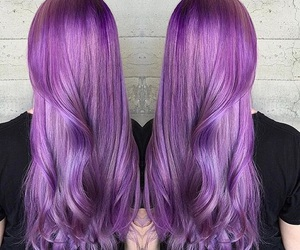 hair, lady, and purple image