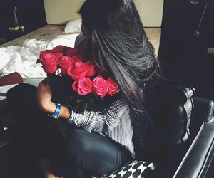 girl, roses, and flowers image