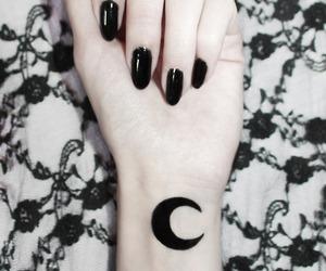 moon, black, and nails image