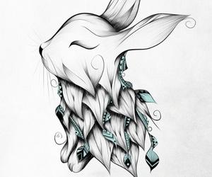 rabbit, art, and boho image