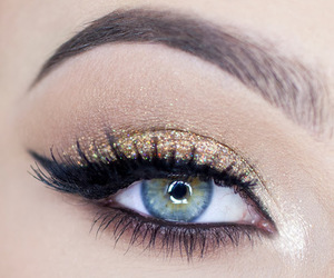 gold, makeup, and blue image
