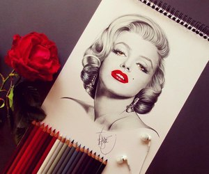 art, sketches, and marlyn monroe image