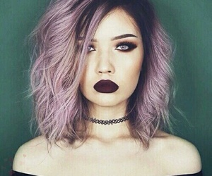 hair, purple, and makeup image
