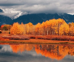 autumn, clouds, and mountains image