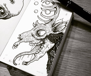 black, drawing, and doodling image