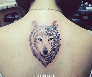 ink, tattoo, and wolf image