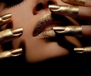 gold, nails, and lips image