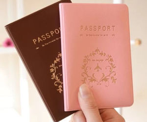 passport, travel, and pink image