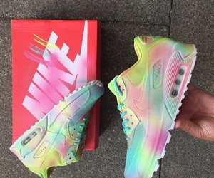 nike, sneakers, and rainbow image
