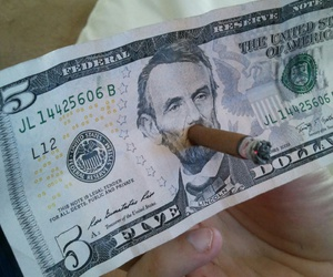 money, smoke, and dollar image