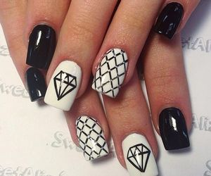 nails, nail art, and diamond image