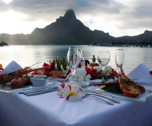 food, mountains, and romantic image