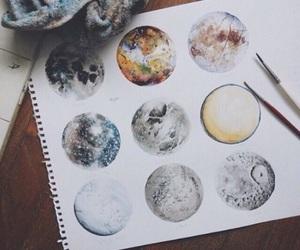 art, moon, and drawing image