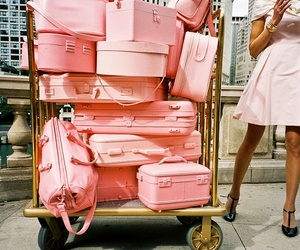 pink, travel, and luggage image