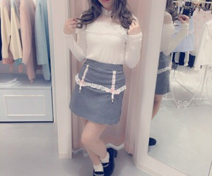 fashion, lace, and pencil skirt image