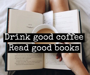 books, coffee, and font image
