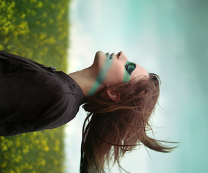 girl, blue, and wind image