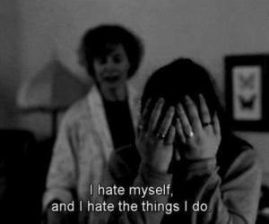 hate, sad, and black and white image