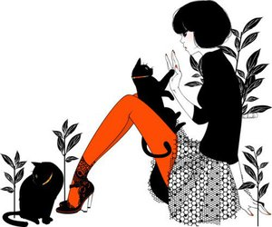 cats, girl, and tights image