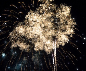 fireworks, dark, and gold image