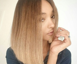 gorgeous hair, short light brown hair, and short straight ombre hair image