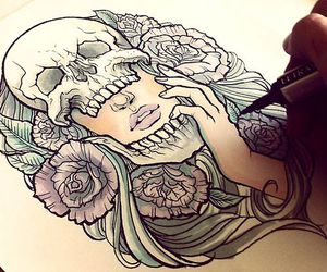 drawing, skull, and art image
