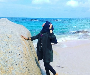 beach, hijab, and style image