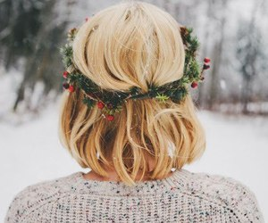 girl, hairstyle, and snow image