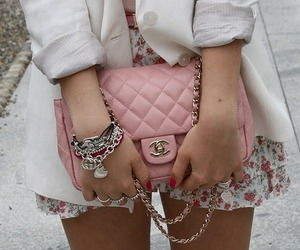chanel, floral print, and pink image