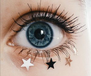 stars, eyes, and blue image