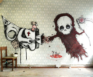 art, wall, and death image