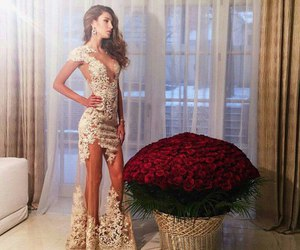 dress, rose, and flowers image