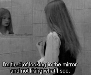 sad, quotes, and mirror image