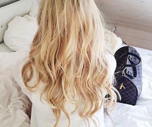 hair, blonde, and bag image