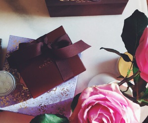 box, coffee, and flowers image