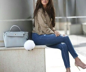 brunette, jeans, and shoes image