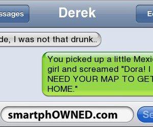 Dora, drunk, and texts image