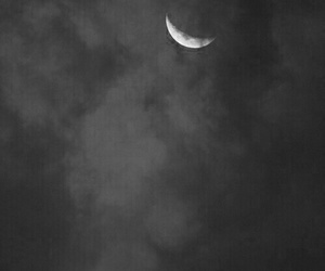 black and white, moonlight, and clouds image