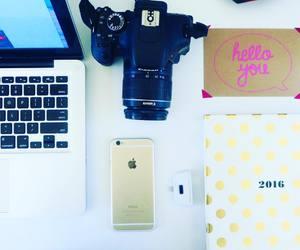 camera, desk, and girly image