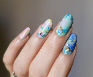 nails, blue, and girly image