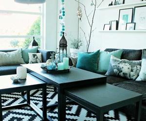 black, decor, and living room image