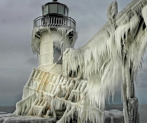 lighthouse, white, and michigan image